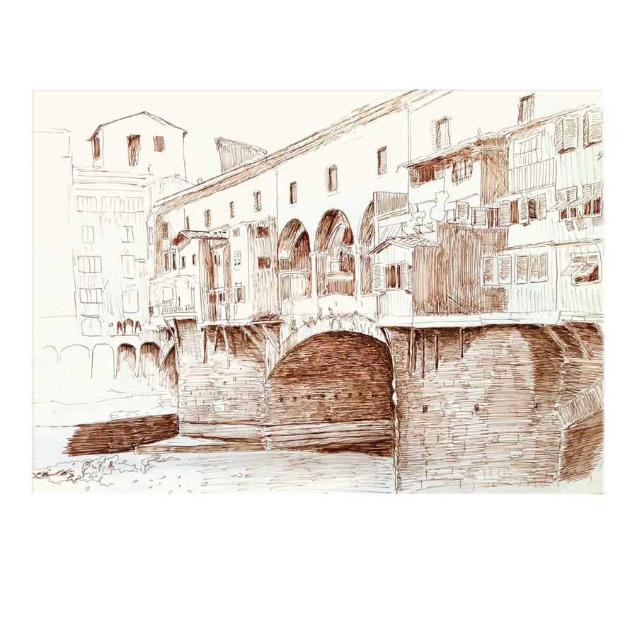 Federzeichnung Florenz Ponte Vecchio