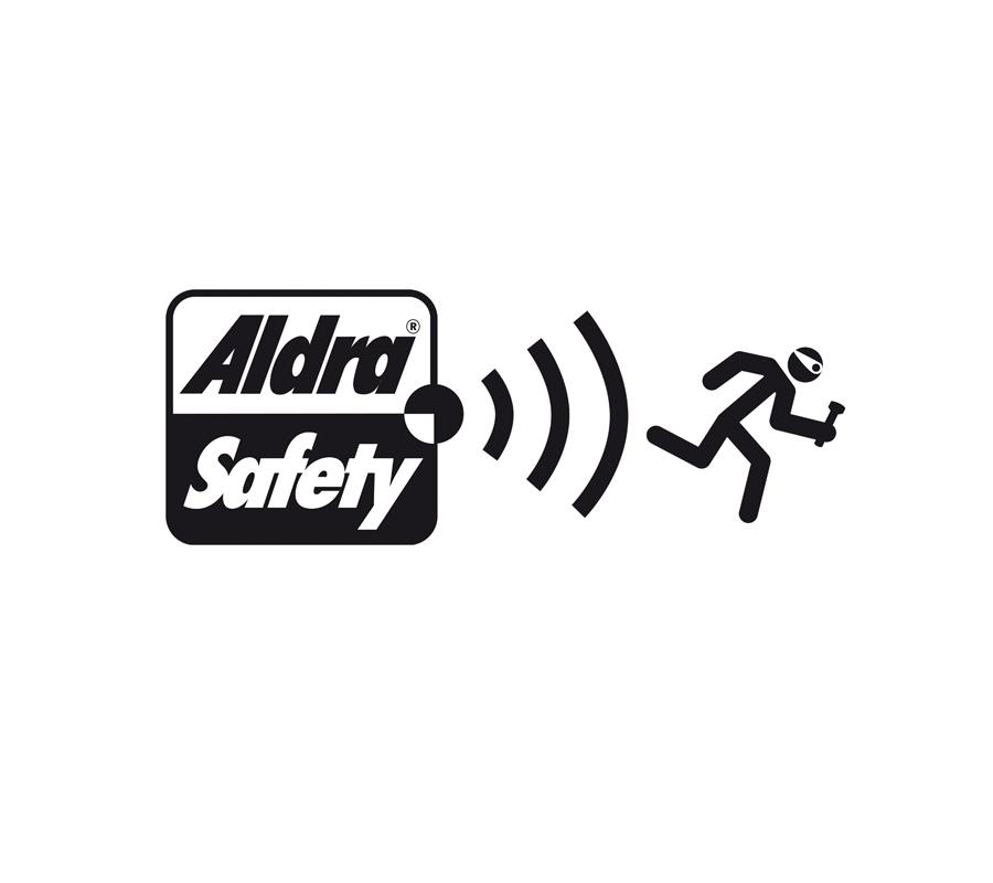 Aldra Safety: Wort- Bildmarke für einen speziellen Einbruchschutz. Anwendung auf Fenster- und Türgriffen.