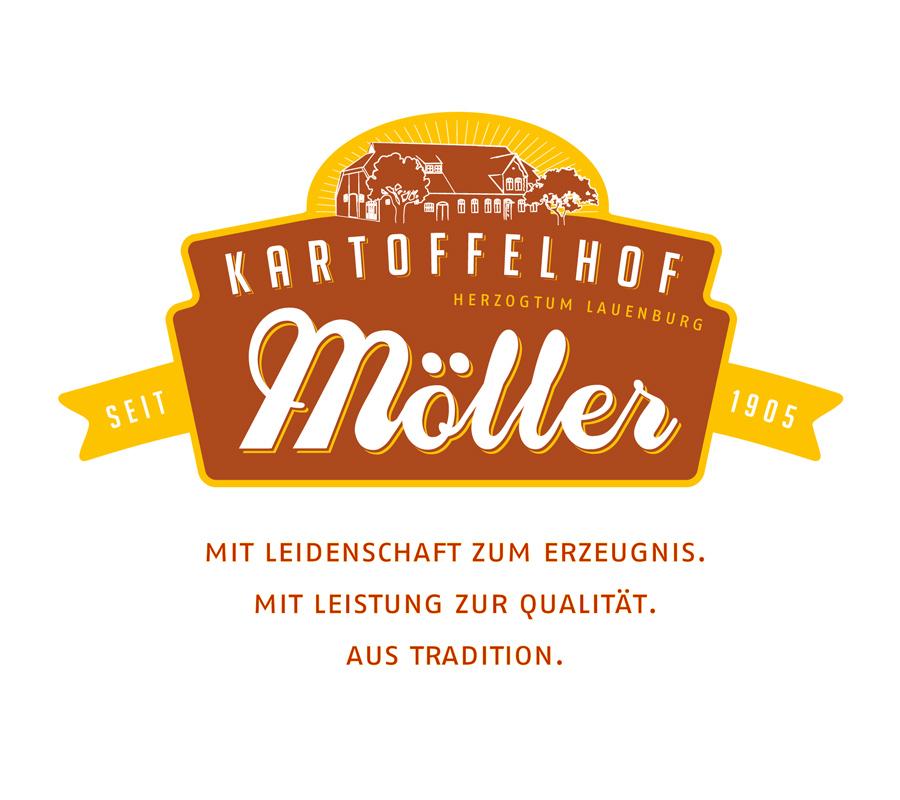 Kartoffelhof Möller: Neuentwicklung eines Erscheinungsbildes mit Logo und Slogan für einen traditionellen Familienbetrieb. Das Logo dient gleichzeitig als Label.