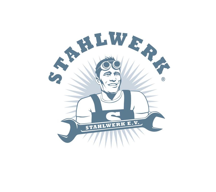 Stahlwerk: Logo für ein soziales Projekt: Metallbau-Werkstätten für junge Männer zur (Re-)Integration ins Berufsleben und in die Gesellschaft.