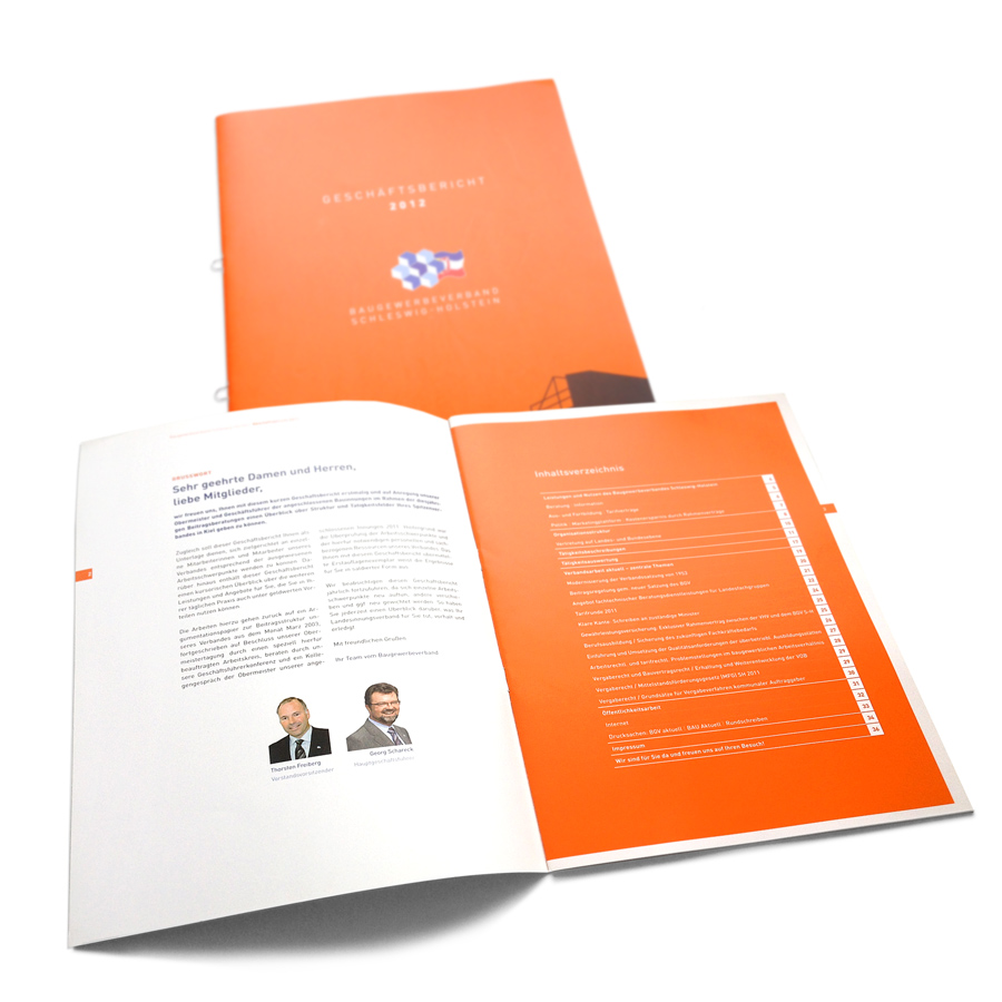 Geschäftsbericht Druck mit Sonerfarbe Orange, Umschlag mit Mattfolie kaschiert, Ringösenheftung zum Abheften.