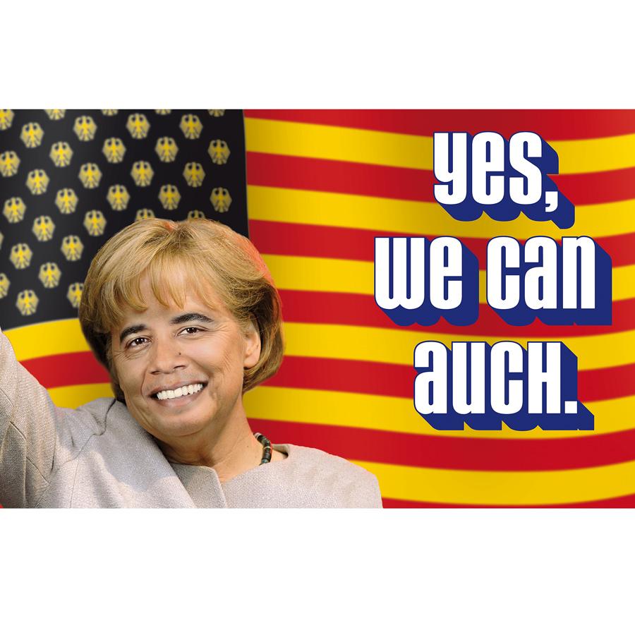 """Medienhaus Kiel: Fotomontage """"Yes, we can auch."""" aus Barack Obama und Angela Merkel für ein Kundenmagazin."""