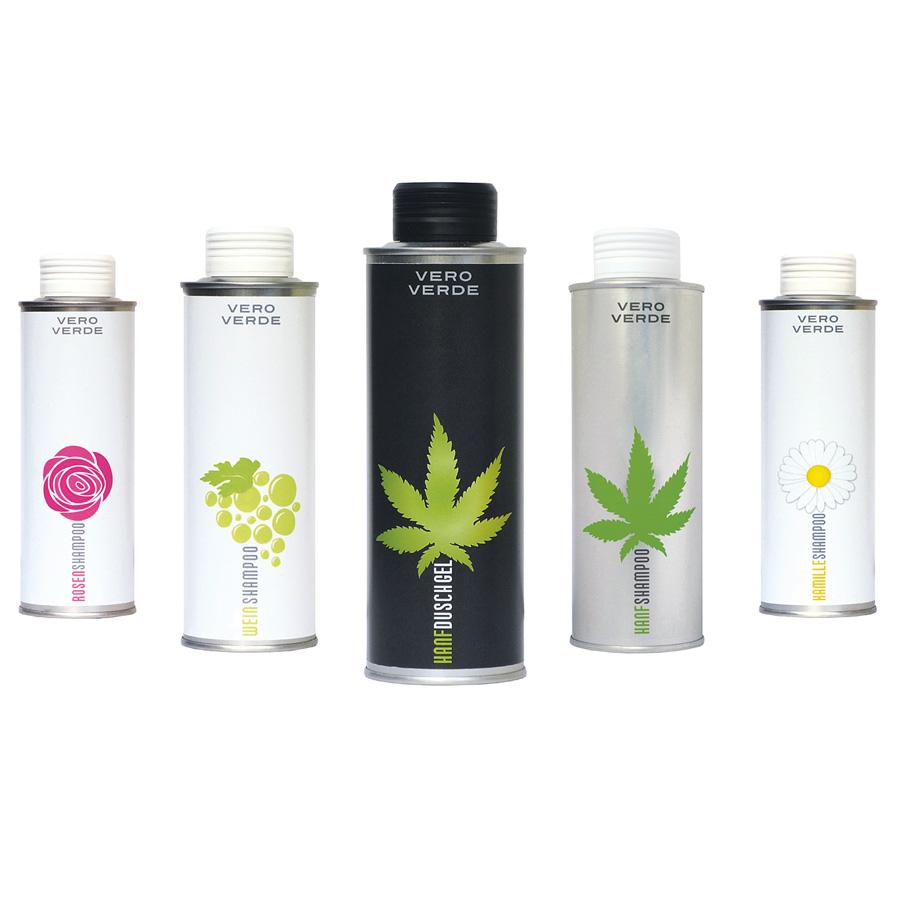 Etiketten, Kosmetik, Shampoo, Duschgel, Vero Verde, Dosen