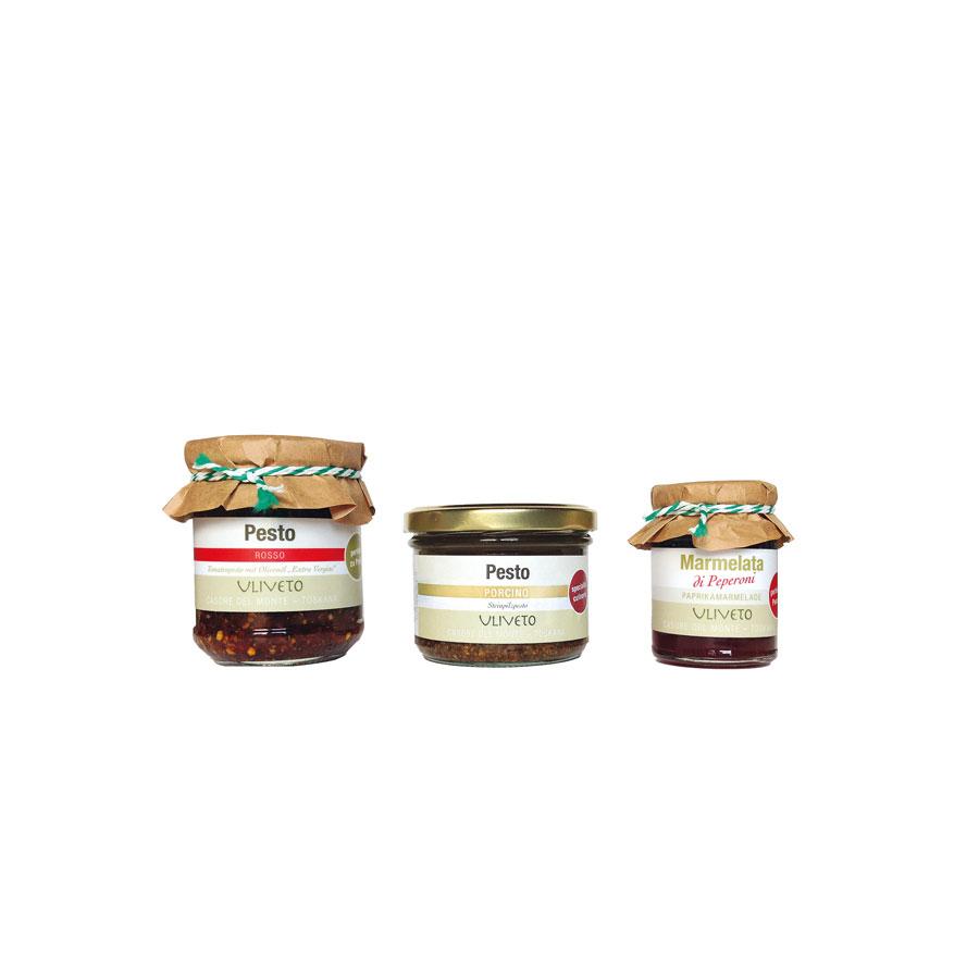 Etiketten für Pesti und Marmelade - Uliveto