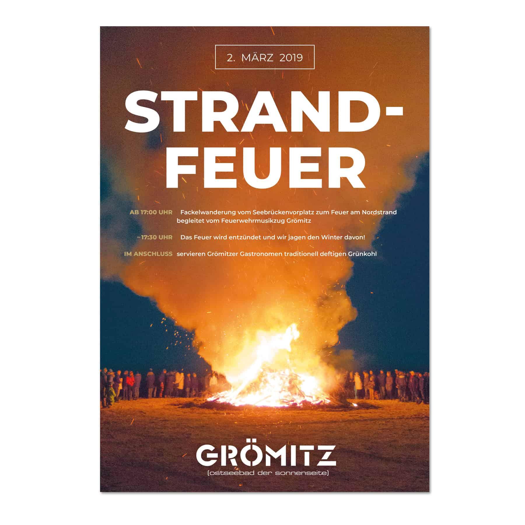 La Deutsche Vita - Drucksachen Plakat Strandfeuer Grömitz